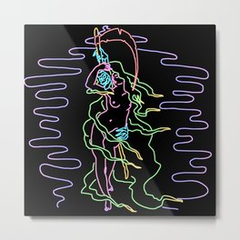 Woman with Grim Neon Metal Print