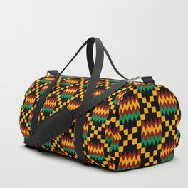 Green, Dark Red, Yellow Gold Kente Cloth on Black Duffle Bag