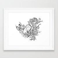 jackalope Framed Art Prints featuring Jackalope by Christina Grace Vergona