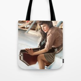 """Flight Deck"" - The Playful Pinup - Airplane Pilot Pin-up Girl by Maxwell H. Johnson Tote Bag"