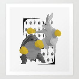 Tortoise & Hare   GRAYSCALE Art Print
