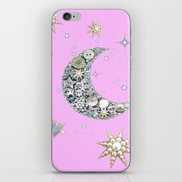 Vintage button Moon iPhone Skin