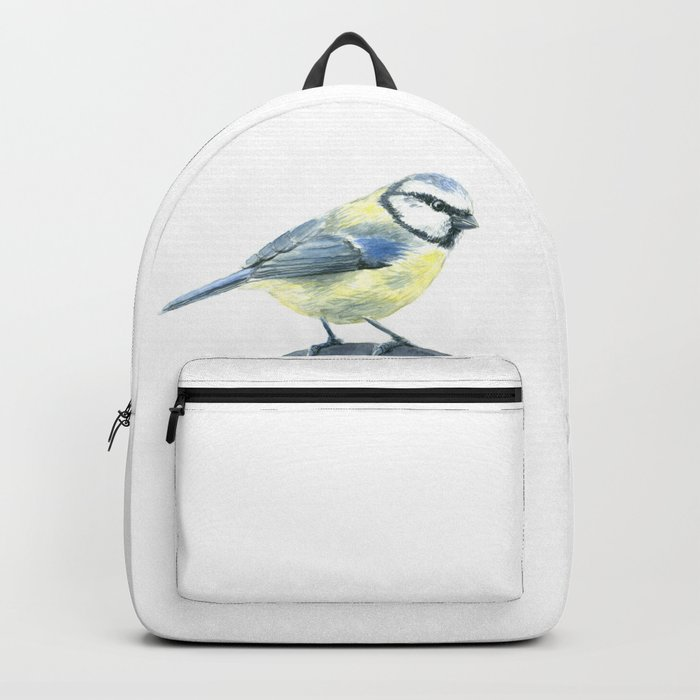 Blue tit, watercolor painting Backpack