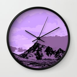 Chugach Mountains - EggPlant Pop Art Wall Clock