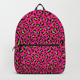 80s Neon Pink and Lime Green Leopard Backpack