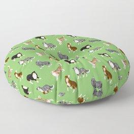 Australian Shepherd Pattern (Green Background) Floor Pillow