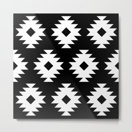 Southwestern Pattern 821 Black and White Metal Print