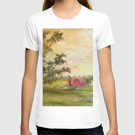 Red Barn, Farm Painting, by Faye T-shirt