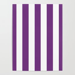 Maximum purple - solid color - white vertical lines pattern Poster