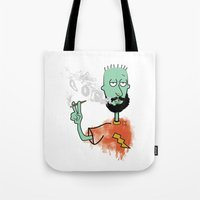 jay fleck Tote Bags featuring beard on fleck 3 0f 4 by Cimone Key