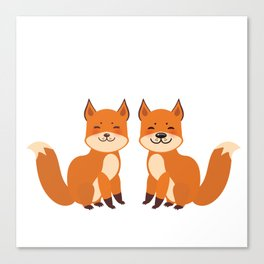 cute fox, boy and girl with funny face and fluffy tails on white background Canvas Print
