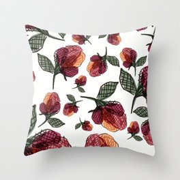Prairie Rose Flower in Red and Orange Throw Pillow