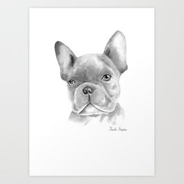 WATERCOLOR FRENCH BULLDOG / FRENCHIE IN BLACK Art Print