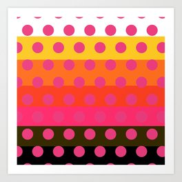 Earth and Summer Sky - Color Strips with Pink Dots Art Print