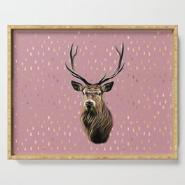 Highland Stag on pink and gold raindrop pattern Serving Tray