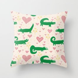 Mr. Crocodile loves you - Fabric pattern Throw Pillow