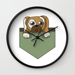 Dog lover pocket animal, boy, cool, cute, dog, friend, funny, geek, happy, home, lovable, paws, pet Wall Clock