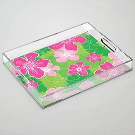 Pink and Green Hawaiian pattern Acrylic Tray