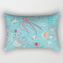 Sea Creatures Swimming in the Ocean Blue Rectangular Pillow