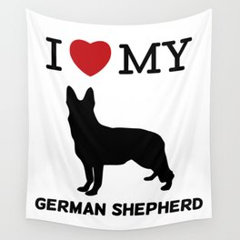 I Love my German Shepherd Design Wall Tapestry