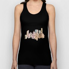 the city painted in pastel colours Unisex Tank Top