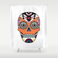 deco Shower Curtains featuring Deco Skull by Jorge Garza