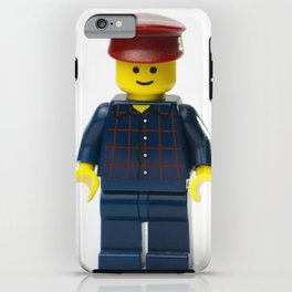 Minifig in a checked shirt and red hat iPhone Case