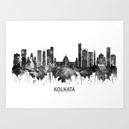 Kolkata West Bengal Skyline BW Art Print