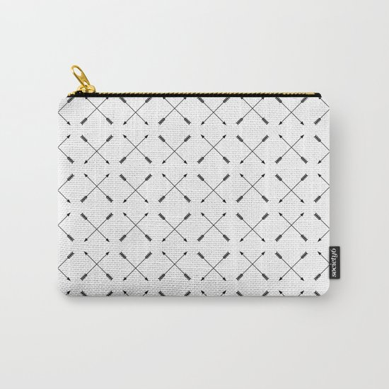 Crossed Arrows Pattern - Black and white Carry-All Pouch