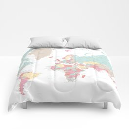 Pastel world map with cities Comforters