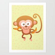 Lovely Baby Monkey Eating Bananas Art Print