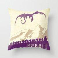 the hobbit Throw Pillows featuring The Hobbit by WatercolorGirlArt