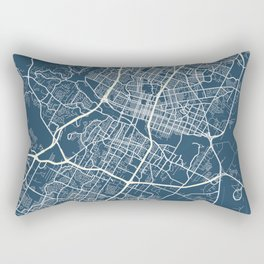 Austin Blueprint Street Map, Austin Colour Map Prints Rectangular Pillow