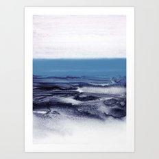 watercolor landscape - blue Art Print