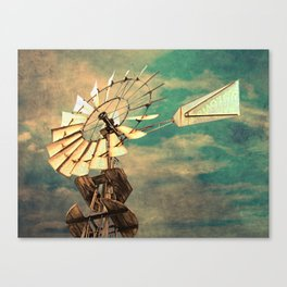 Rustic Windmill against Cloudy Sky Modern Country Art A520 Canvas Print