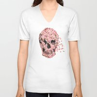 floral V-neck T-shirts featuring A Beautiful Death  by Terry Fan