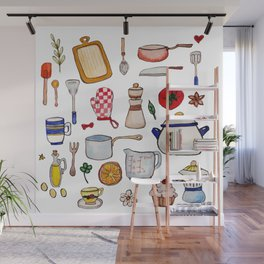 Watercolor Kitchen Utensils Wall Mural