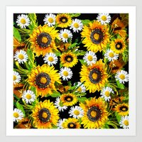 sunflowers Art Prints featuring Sunflowers by Saundra Myles