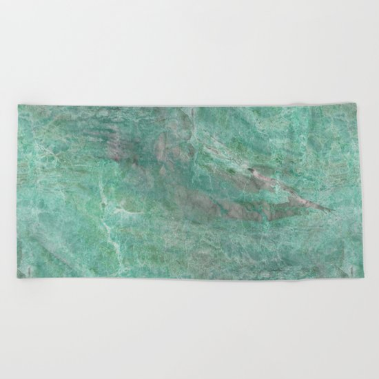 Mossy Woods Green Marble Beach Towel