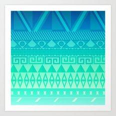 Blue Mayan Art Print