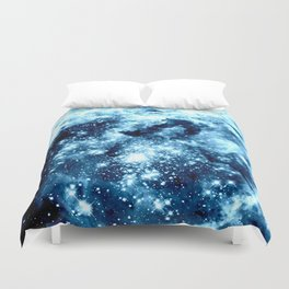 Ice Blue Galaxy Star Clusters Duvet Cover