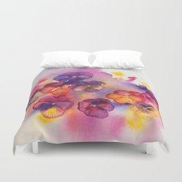 Spring watercolor flowers art colorful pansies Duvet Cover