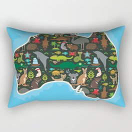 map of Australia. Wombat Echidna Platypus Emu Tasmanian devil Cockatoo kangaroo dingo octopus fish Rectangular Pillow