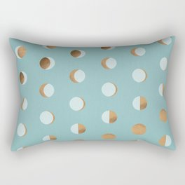 The Lunar Cycle • Phases of the Moon – Copper & Robin's Egg Blue Palette Rectangular Pillow