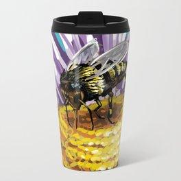 Wasp on flower 3 Metal Travel Mug