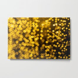 Golden Xmas Lights Metal Print