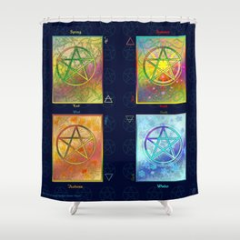 Four Seasons Pentacle Poster Shower Curtain