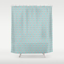 Mid Century Modern Striped Contemporary Geometric Beaded Garland in Turquoise and Gray Shower Curtain