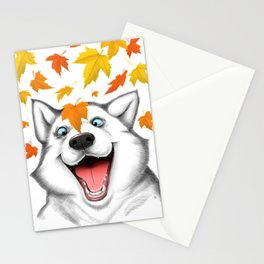 Autumn husky Stationery Cards