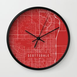 Scottsdale Map, USA - Red Wall Clock